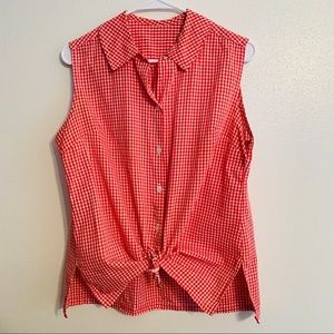 Plus Size 14 Red White Gingham Button Top Vintage